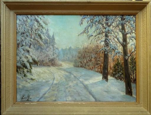 Piotr Ivanovitch LIVOFF - Peinture - Chemin sous la neige