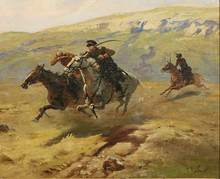 """Franz Alekseevic ROUBAUD - Painting - """"Cossacks Chasing a Soldier on Horseback"""