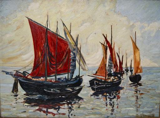 Anton LAMPRECHT - Pintura - Bateaux de pêche en mer.