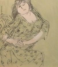 Kurt MOLDOVAN - Drawing-Watercolor - Frau mit grünem Kleid vor grünem Hinetrgrund