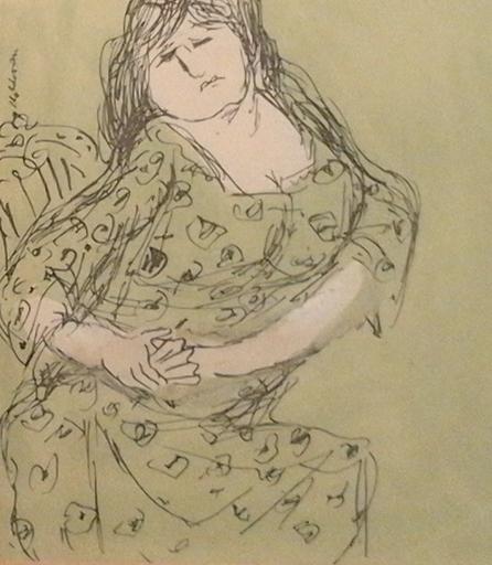 Kurt MOLDOVAN - Dibujo Acuarela - Frau mit grünem Kleid vor grünem Hinetrgrund