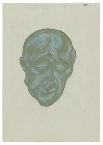 Marcus BEHMER - Drawing-Watercolor - Totenmaske eines großen Geigers