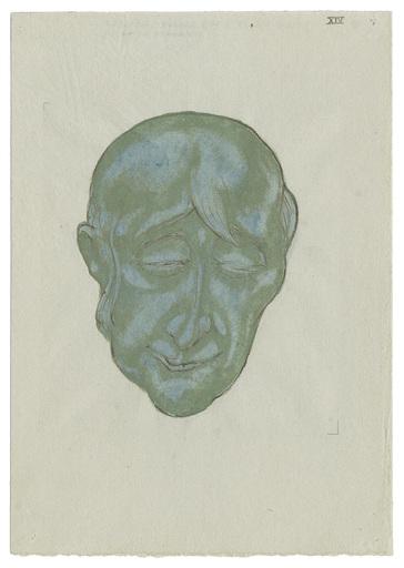 Marcus BEHMER - Zeichnung Aquarell - Totenmaske eines großen Geigers