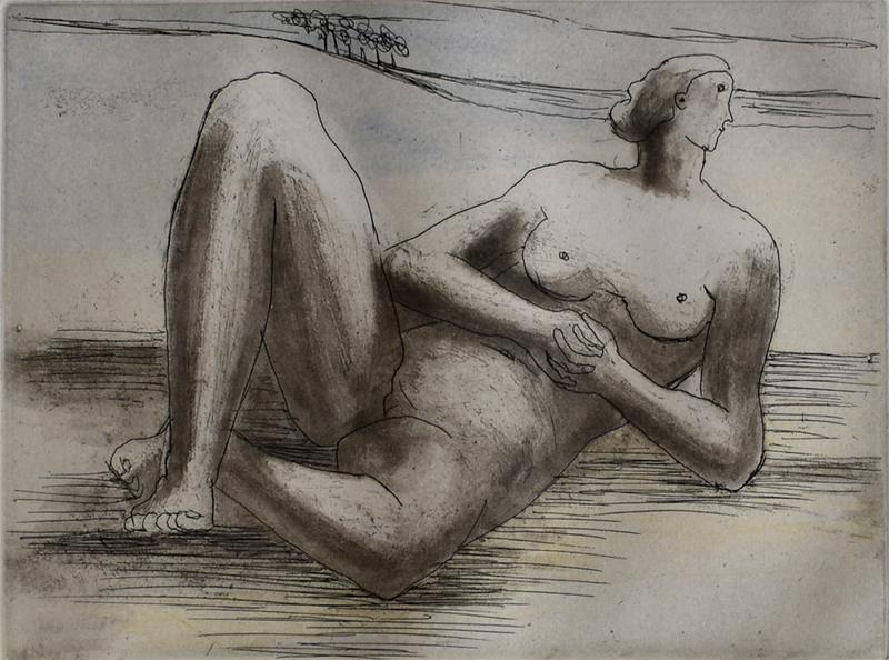 亨利•摩尔 - 版画 - Reclining Figure VIII