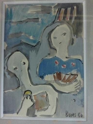 Francisco BORES - Drawing-Watercolor - DEUX PERSONNAGES