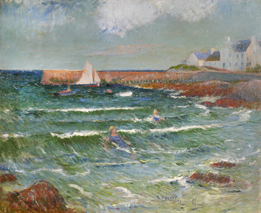 Henry MORET - Peinture - Baignade de mer à Lomener