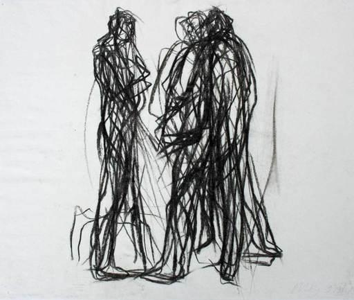 Max UHLIG - Dibujo Acuarela - Kleine Straßenszene