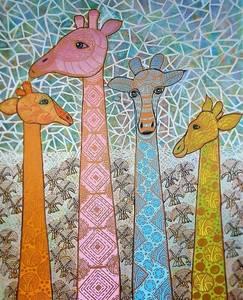 Annemarie HOFFMANN - Painting - 4 BaumGiraffen pastellfarben    (Cat N° 6055)