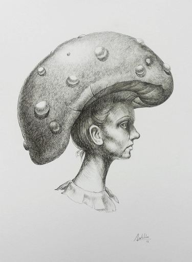Carlos SABLÓN - Disegno Acquarello - Femme au Chapeau