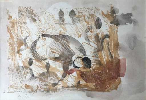 "Manolo RUIZ PIPO - Dibujo Acuarela - Corrida in Séville – ""La Dominique de Manolo"""