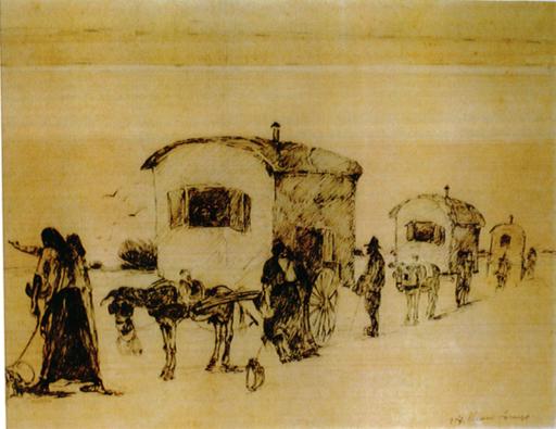 Lorenzo VIANI - Dibujo Acuarela - Carovana di zingari