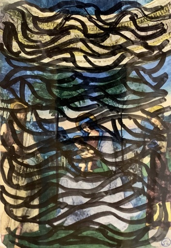 Sol LEWITT - Dessin-Aquarelle - Postcard drawing #3