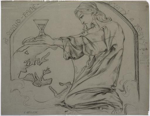 Frantisek BILEK - Dessin-Aquarelle - Christ Praying