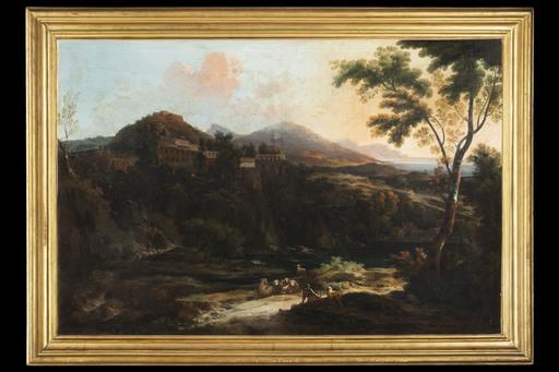 Alessio DE MARCHIS - Painting - Paesaggio lacustre con viandante