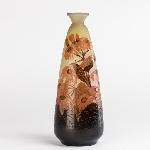 艾米里·加利 - Emile Gallé (1846-1904), vase aux abutilons, XIXe