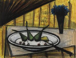 Bernard BUFFET - Painting - Assiette de fruits