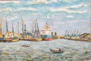 Walter BRÜGGMANN - 绘画 - Hamburger Hafen mit Dampfer.