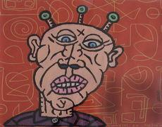 Robert COMBAS - Painting - Tête d'extra-terrestre de bande dessiné posant derrière alph