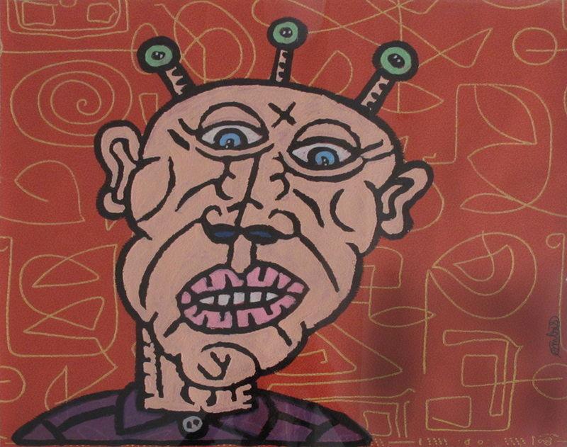 Robert COMBAS - Peinture - Tête d'extra-terrestre de bande dessiné posant derrière alph