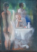Béla KADAR - Pintura - Three Women by the Table