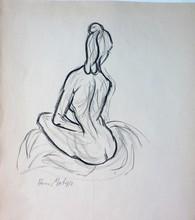 Henri MATISSE - Dessin-Aquarelle - Frauenakt Rücken sitzend
