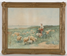 "Otto Karl Kasimir VON THOREN - Dibujo Acuarela - ""Little Shepherds with Their Sheep"", Watercolor, ca 1875"