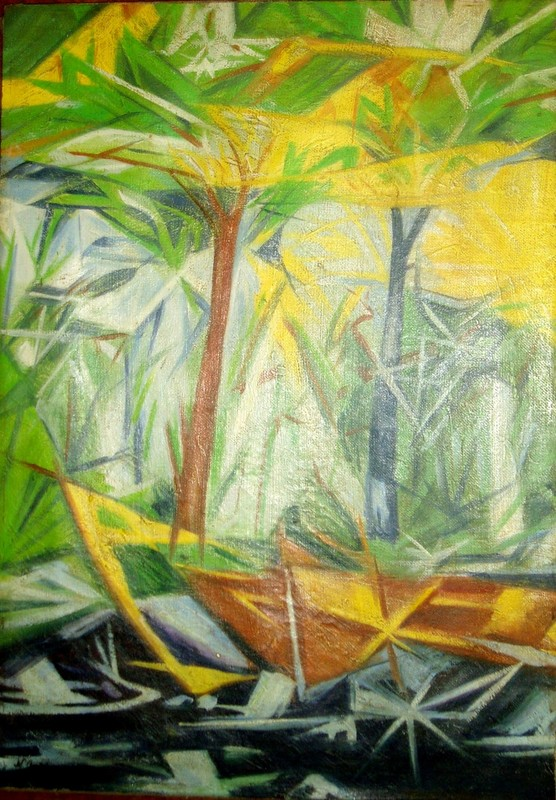 Nathalie GONTCHAROVA - Pintura - Rayonnist Forest