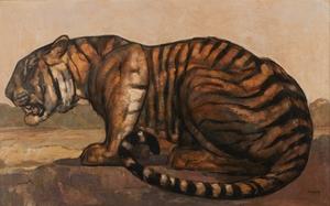 Paul JOUVE - Pintura - Tigre à l'affût