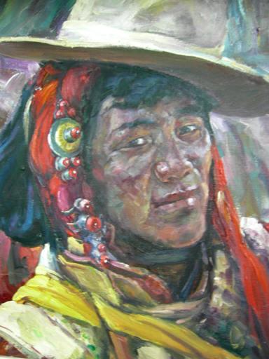 ZHANG Ai Min - Peinture - 藏族青年 Modern Tibet Man