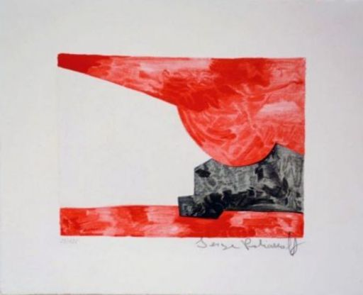 Serge POLIAKOFF - Print-Multiple - Composition rouge, blanche, noire n°42