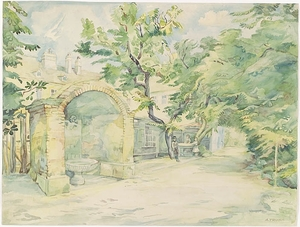 "Anna TRUXA - Zeichnung Aquarell - ""Monastery Yard"", 1920s"