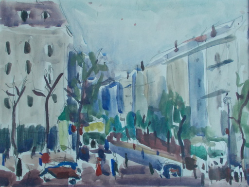 Albert CHUBAC - Drawing-Watercolor - Vue de Paris