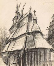 Kurt SCHWITTERS - Disegno Acquarello - Kirche von Fantoft ( Church of Fantoft