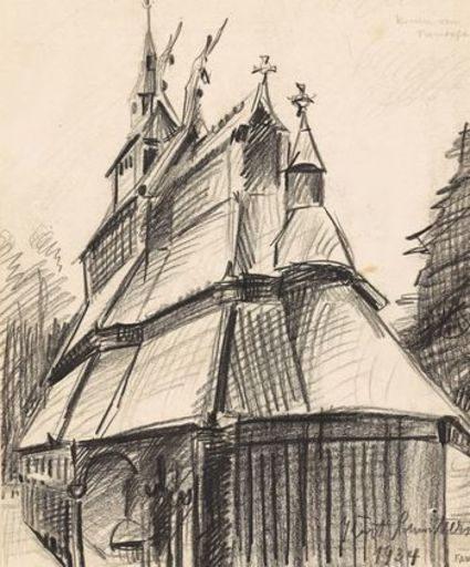 Kurt SCHWITTERS - Disegno Acquarello - Kirche von Fantoft ( Church of Fantoft
