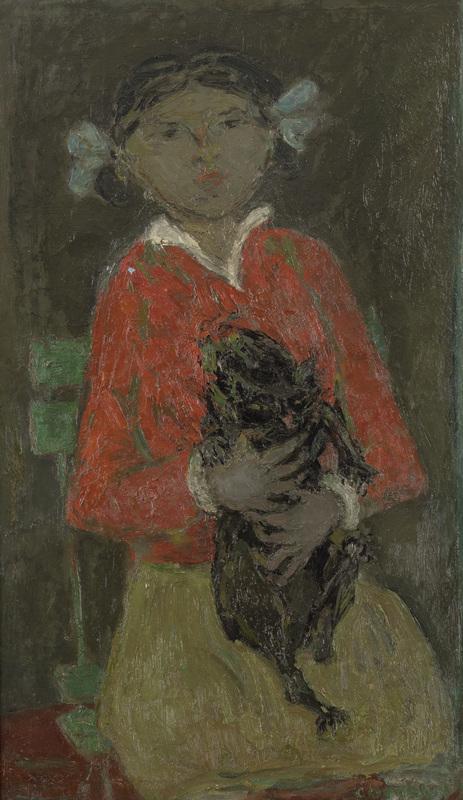 André COTTAVOZ - Painting - Fillette au chat