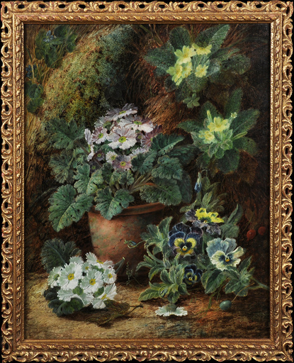 Oliver CLARE - Pittura - Still Life of Flowers on a Mossy Bank
