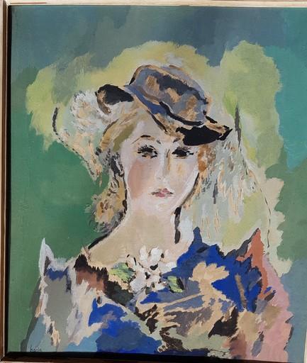 Dora BIANKA - Dibujo Acuarela - Jeune fille au chapeau