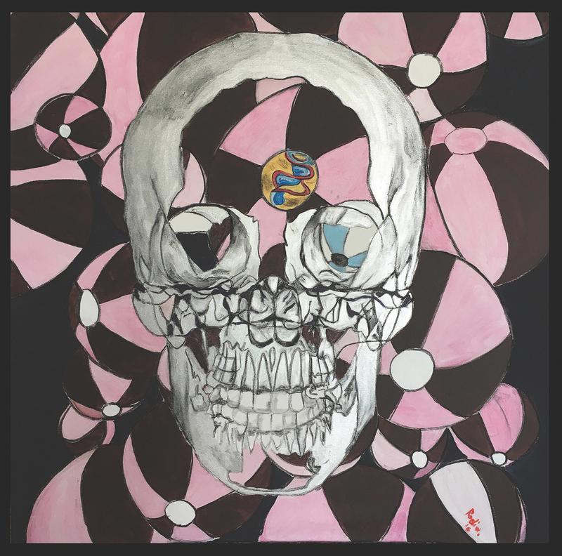 Alain RODIER - Painting - Skull Pink Balloon