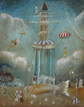 Vasily KAFANOV - Painting - Fish-Tower 1