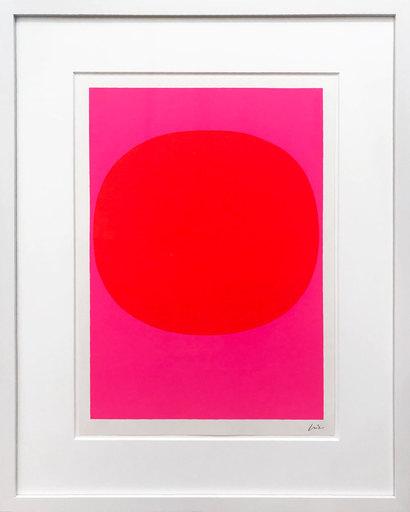 Rupprecht GEIGER - 版画 -  Variation Runde Farbe III - Leuchtrot auf Pink