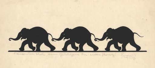 Ernst Moritz ENGERT - Disegno Acquarello - Trias/Drei Elefanten, 1926.