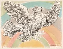 Pablo PICASSO - Print-Multiple - Colombe volant (à l'Arc-en-ciel)
