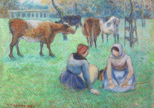 Camille PISSARRO - Drawing-Watercolor - Paysannes assises gardant des vaches