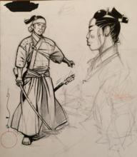 MICHETZ - Drawing-Watercolor -  Samourai