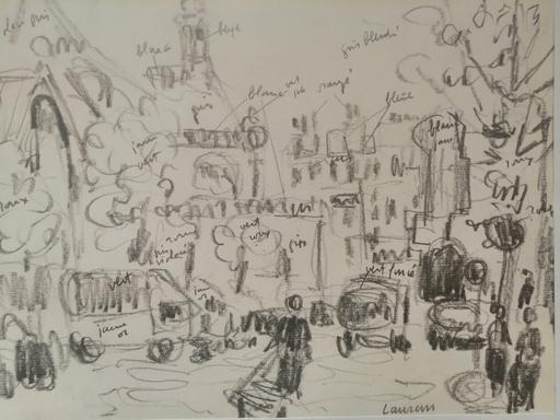 André LAURAN - Dibujo Acuarela - Paris - Les Halles - Rue du Pont Neuf - Vers Saint Eustache