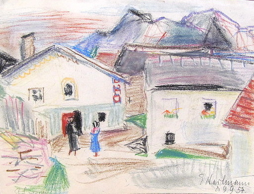 Erich HARTMANN - Dibujo Acuarela - #19954: Gehöft in den Bergen.