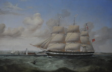 William Kimmins MACMINN - Painting - The Full-Rigged Merchantman Ebba Brahe inbound for Liverpool