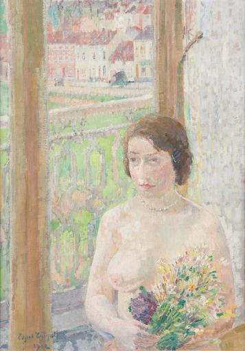 Edgard TYTGAT - Painting - Jeune fille aux fleurs, à Watermael