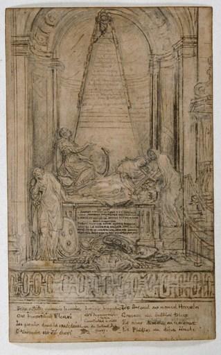 Gabriel Jacques DE SAINT-AUBIN - Drawing-Watercolor - Tombeau du cardinal de Fleury