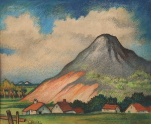 "Raymond DIERICKX - Drawing-Watercolor - ""LE VILLAGE AU PIED DE LA COLLINE"""